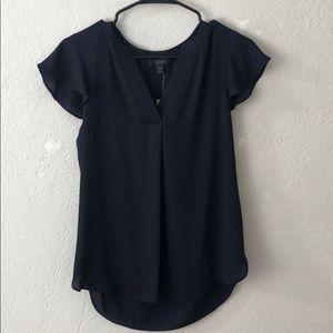 NWT: Jcrew flutter sleeve navy shirt (size 4)